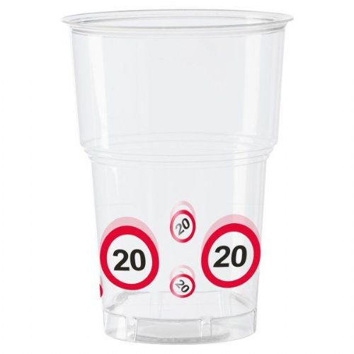 Traffic Sign 20th Party Cups 10s Birthday Tableware Table Disposbles